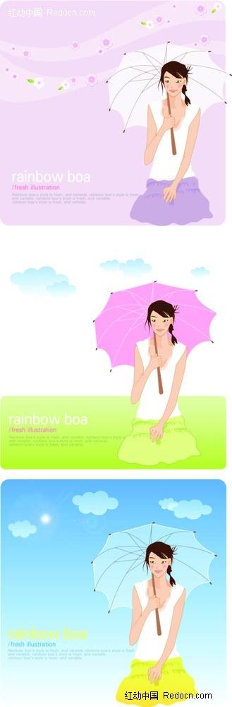 手绘打伞的美女背景图