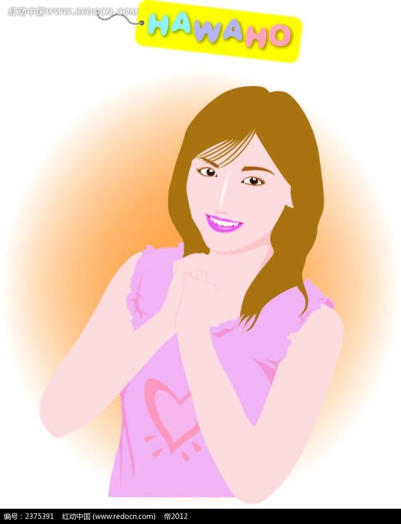 双手合十的美女手绘画