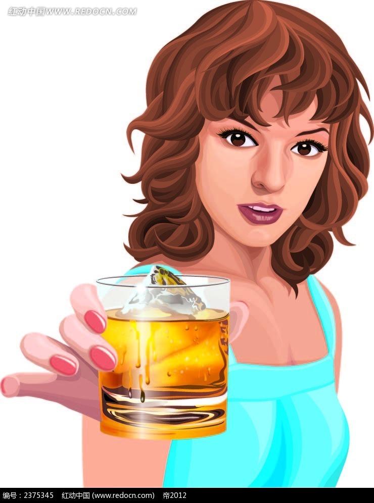 端冰镇啤酒的美女手绘画