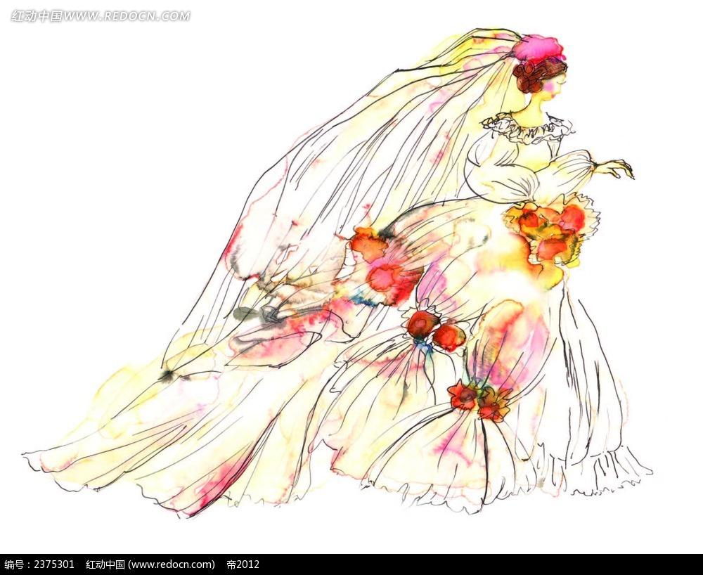 线描手绘新娘侧面画eps免费下载_卡通形象素材