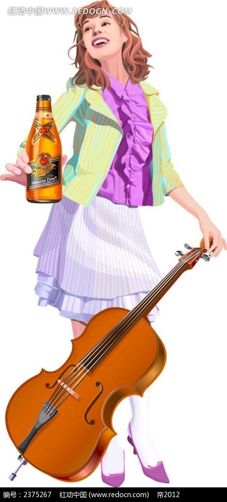 弹吉他喝啤酒的手绘美女