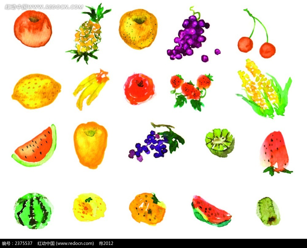 手绘画形式水果eps免费下载_蔬菜水果素材