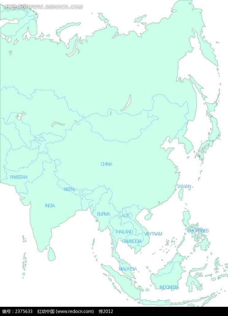 亚洲地图矢量素材eps