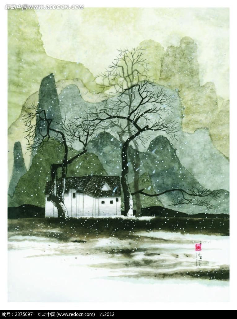 乡村背景水墨画EPS免费下载 底纹背景素材