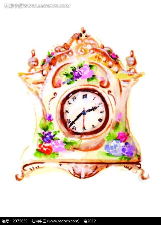 欧式水彩精美时钟