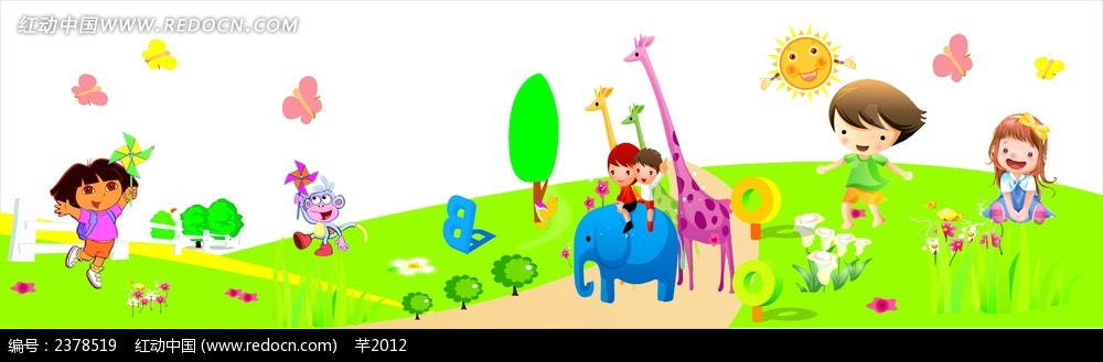幼儿园卡通墙绘模板图片