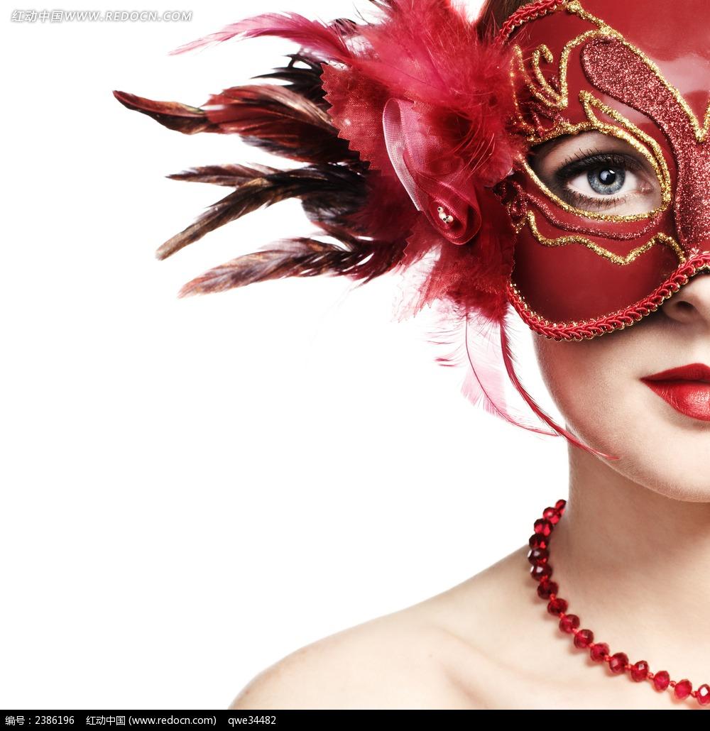 化妆舞会面具美女图片