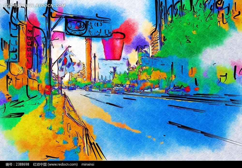 大街插画图片 大街描绘 手绘大街 绚丽色彩 场景 场景图片 场景绘画