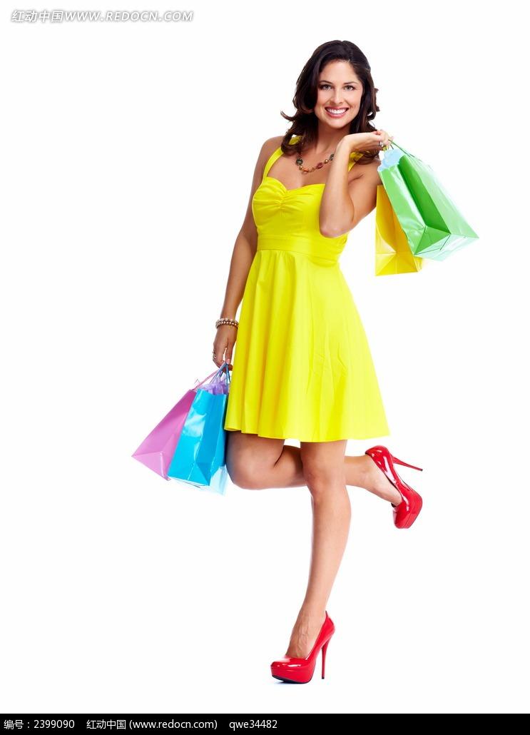 穿黄裙子高跟鞋的美女图片