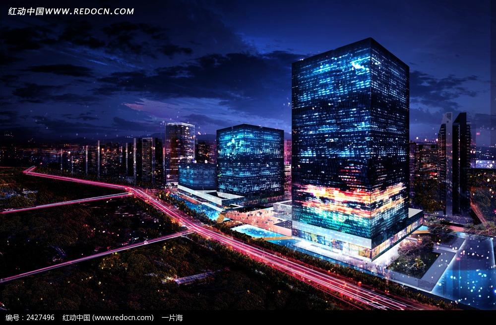城市夜景建筑鸟瞰图