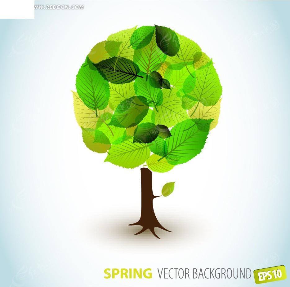 绿色树叶组成的抽象树木矢量图