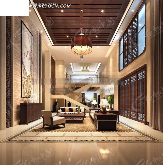 中式别墅客厅3dmax模型图片