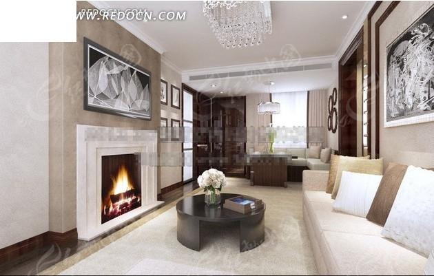 现代客厅3dmax模型_室内设计