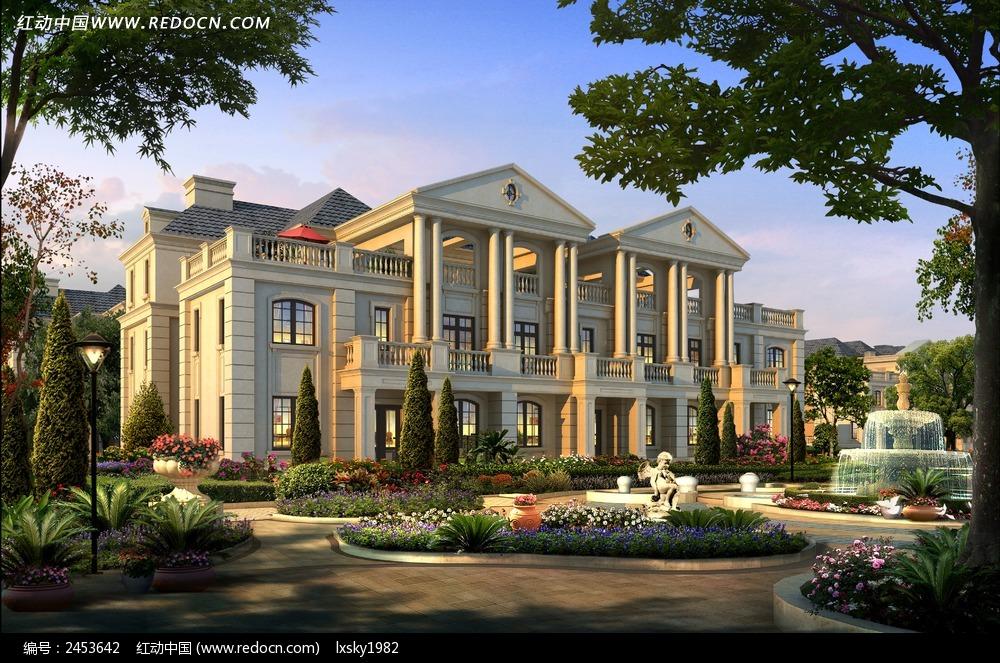 法式别墅宫廷建筑效果图公寓v别墅别墅和图片