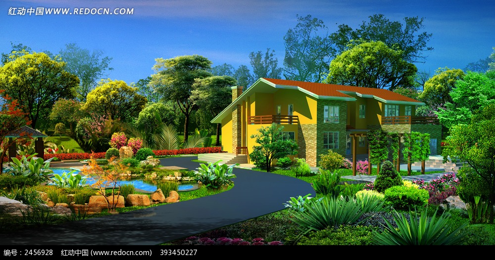 别墅透视效果图_园林景观图片