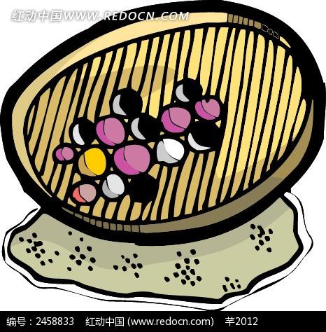 免费素材 矢量素材 节日矢量素材 元宵节 手绘筲箕上的彩色汤丸  请您