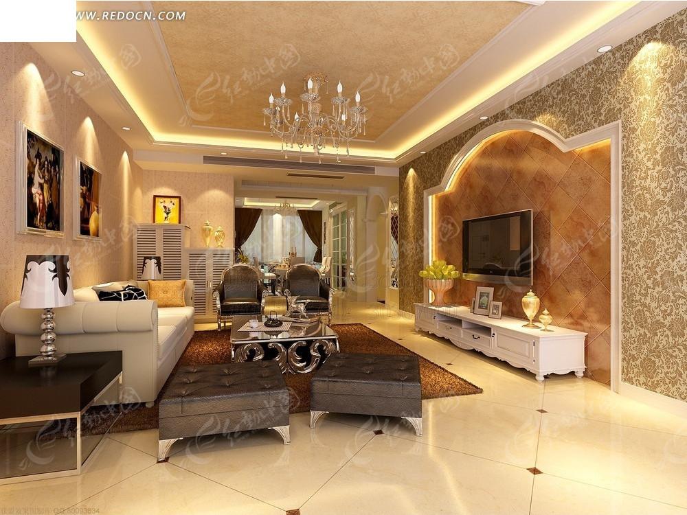 简欧式客厅装修3d模型效果图