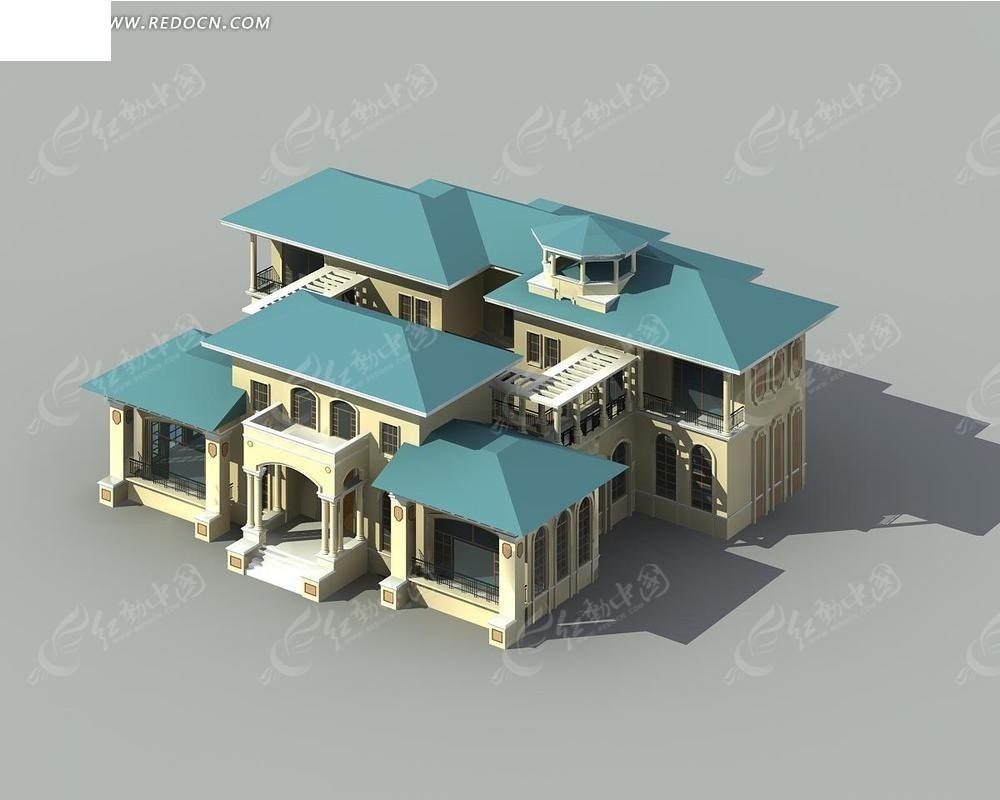 欧式豪华别墅max模型3dmax免费下载