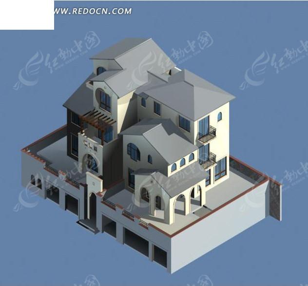 独栋小别墅设计3d模型