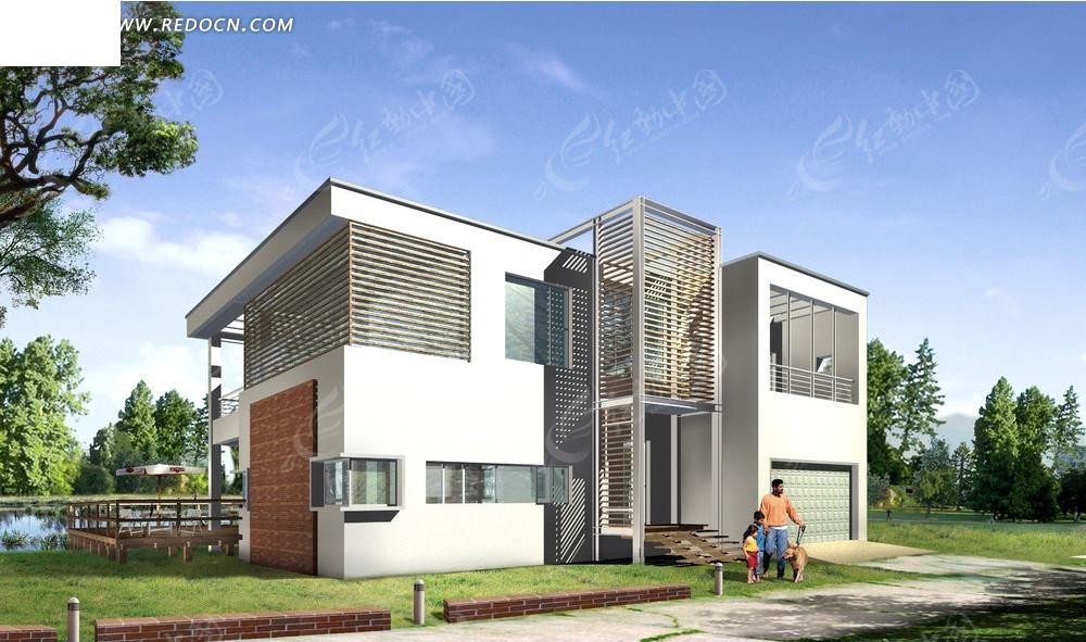 美式3dmax别墅_建筑模型