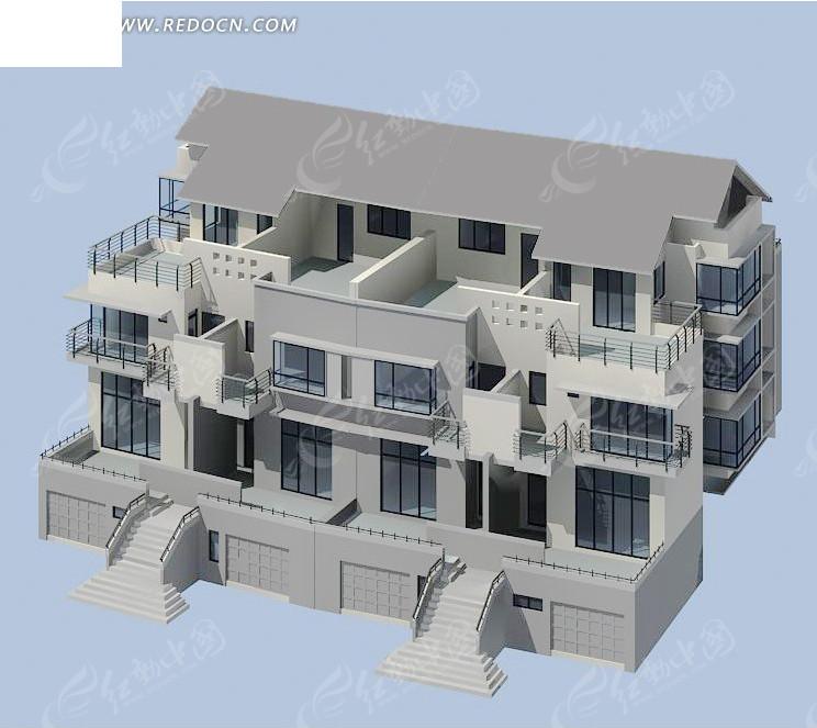 别墅模型max设计3dmax免费下载