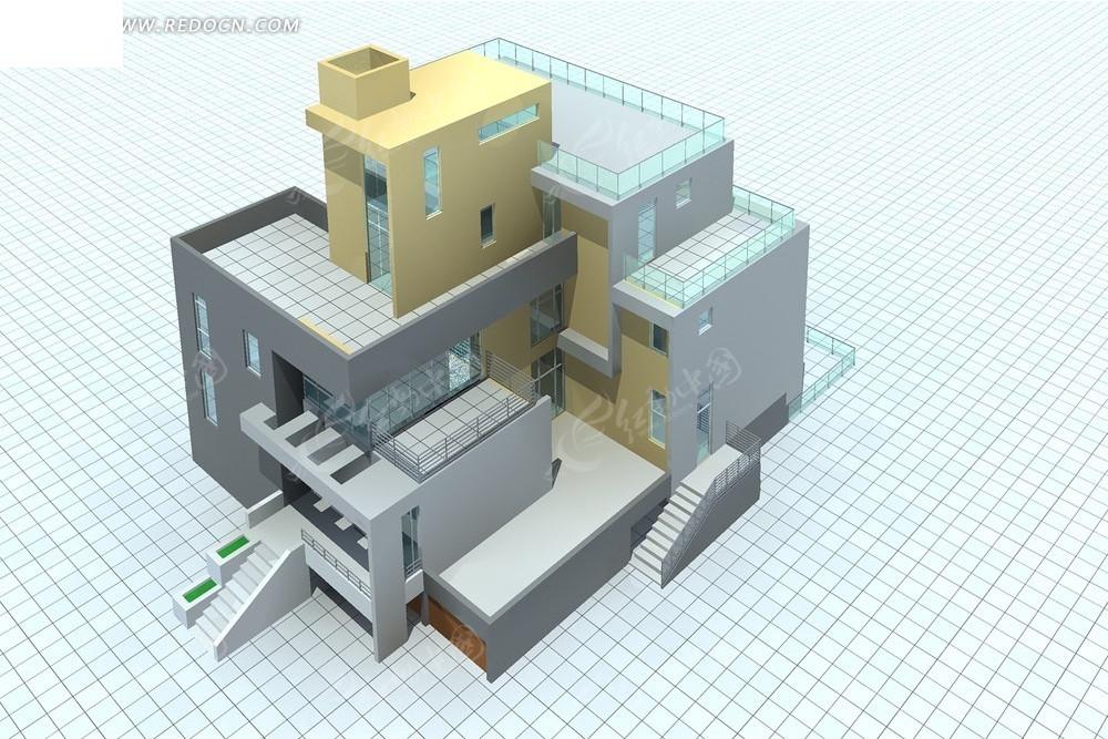 现代别墅外观模型设计