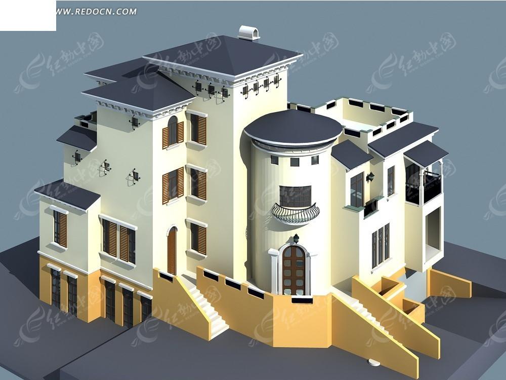 欧式城堡别墅3d模型3dmax免费下载