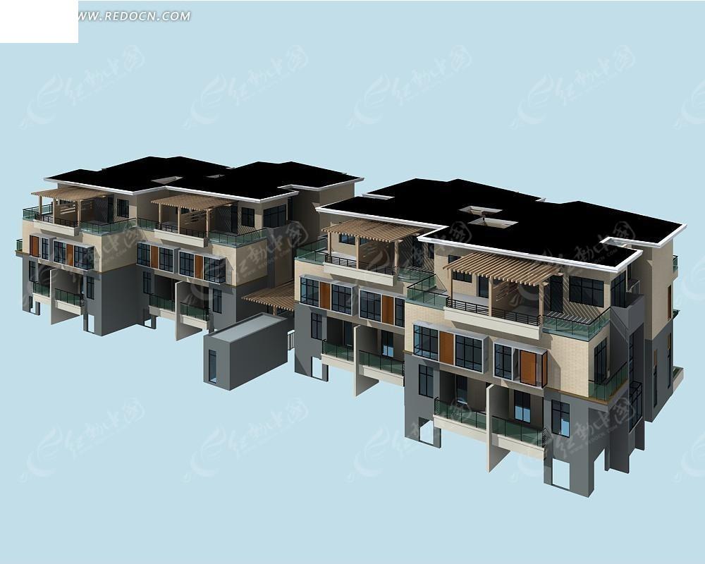 欧式联排别墅3dmax模型设计