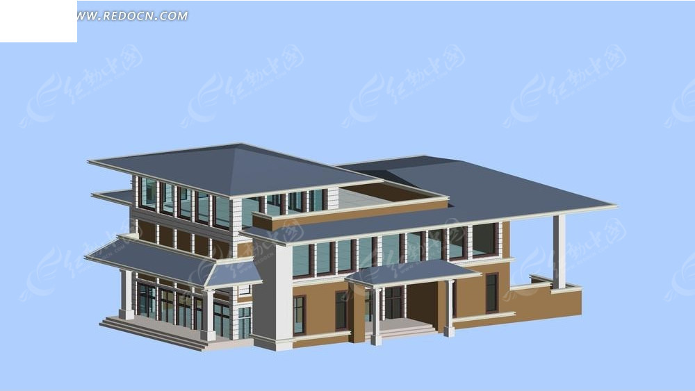 美式别墅模型 建筑模型