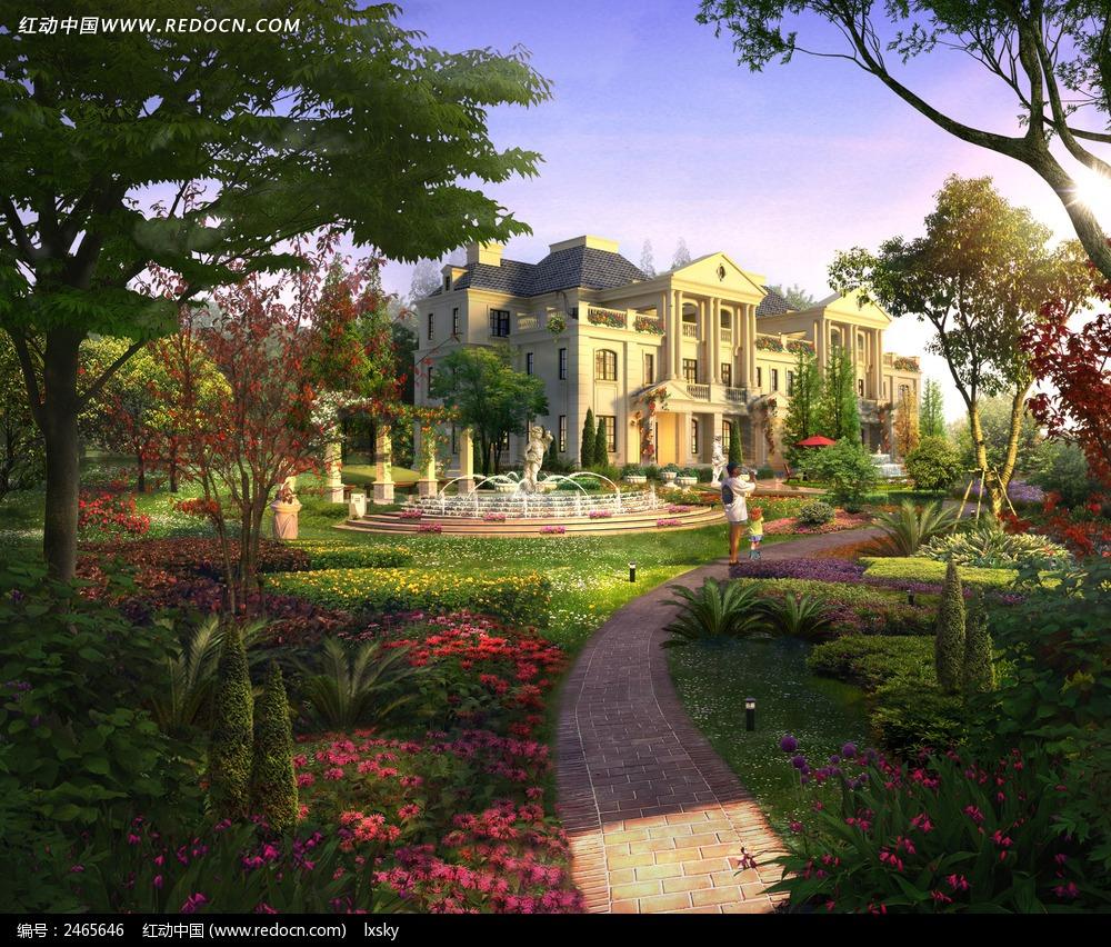 纯法式别墅园林建筑效果图图片