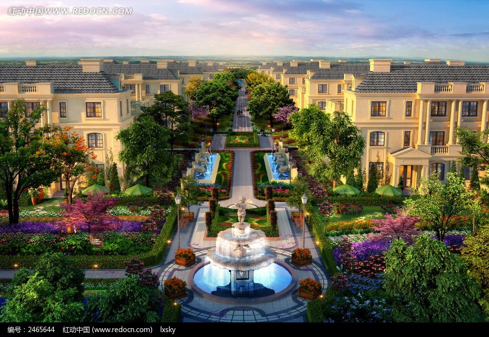 纯法式别墅区园林建筑效果图图片