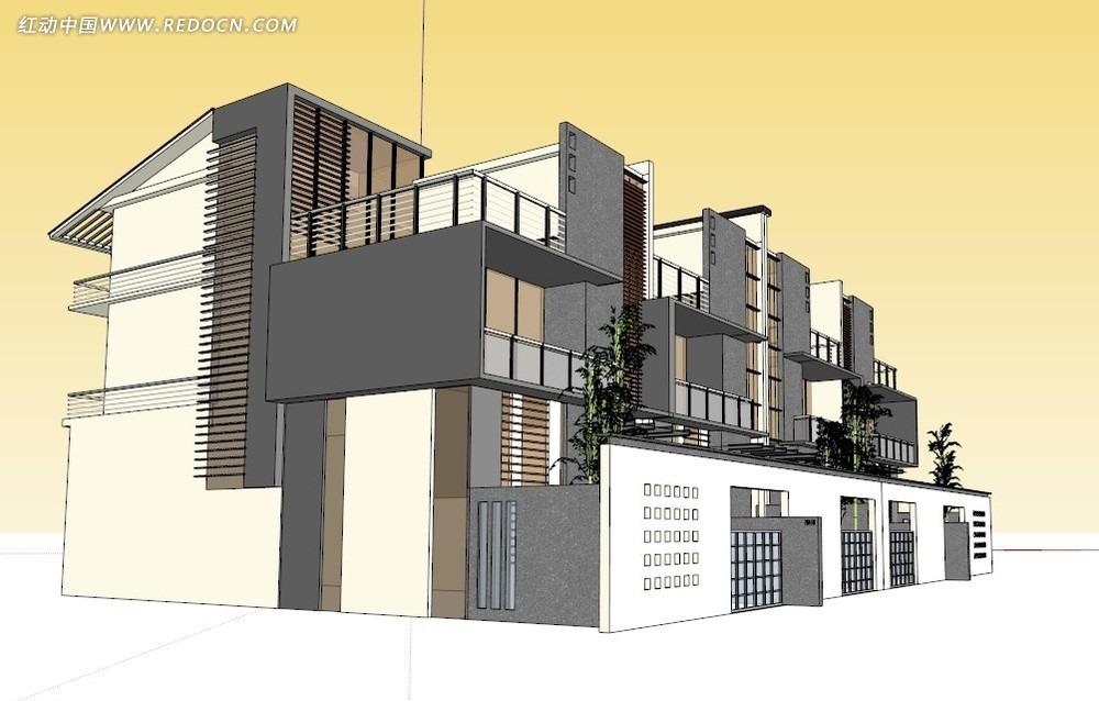 新中式住宅3d模型其他免费下载_建筑模型素材图片