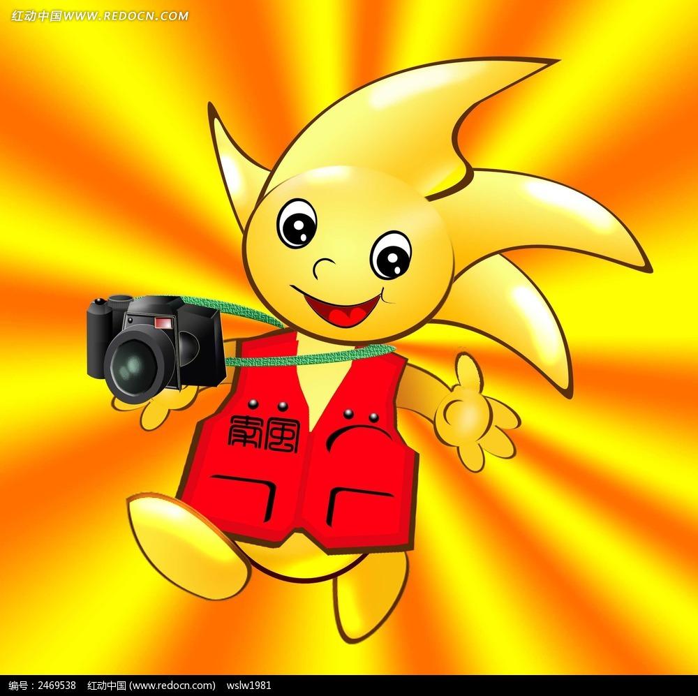 拿着相机的卡通人物