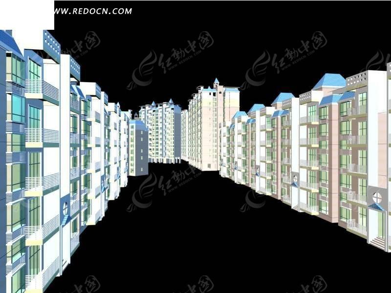 欧式建筑风情商业街效果 商业街建筑群裙楼3d模型 商业城建筑设计3d