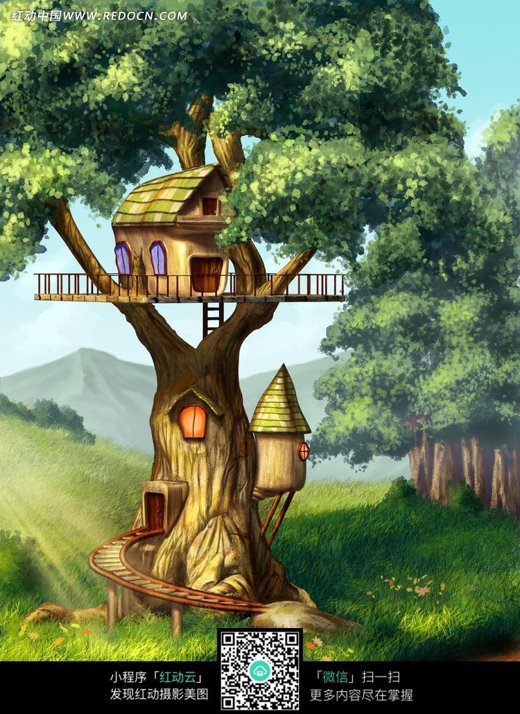 森林的树屋摄影背景图片