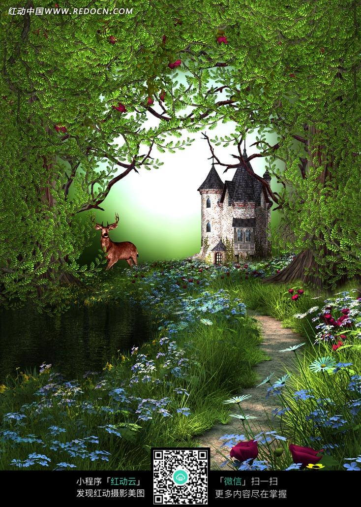 树林城堡前的小路摄影背景