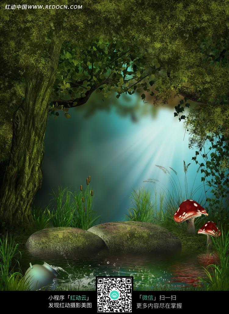 童话森林的泉水摄影背景图片