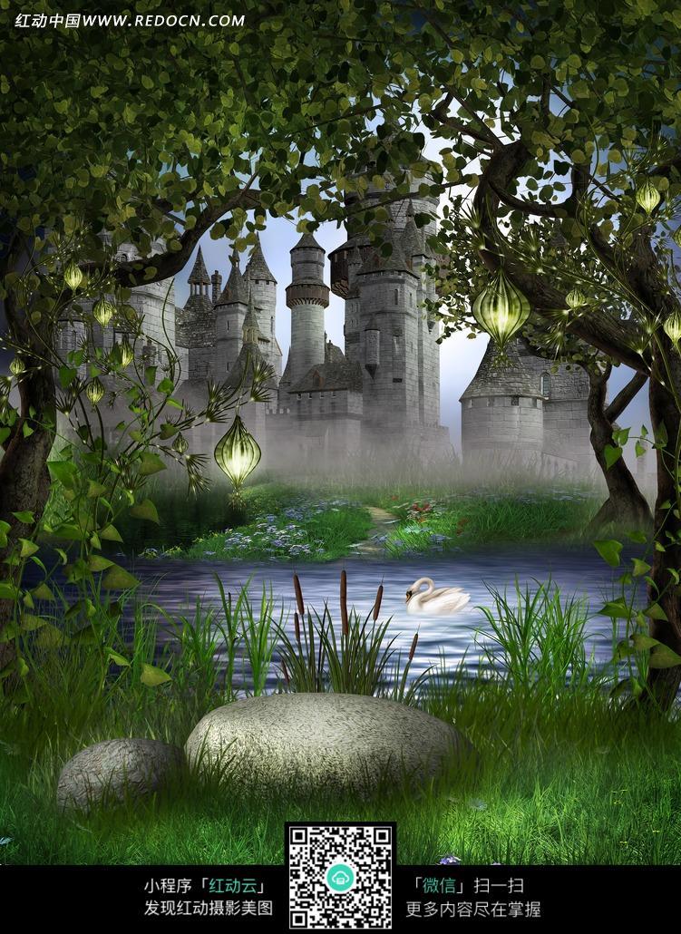 童话的森林城堡拍摄背景图片