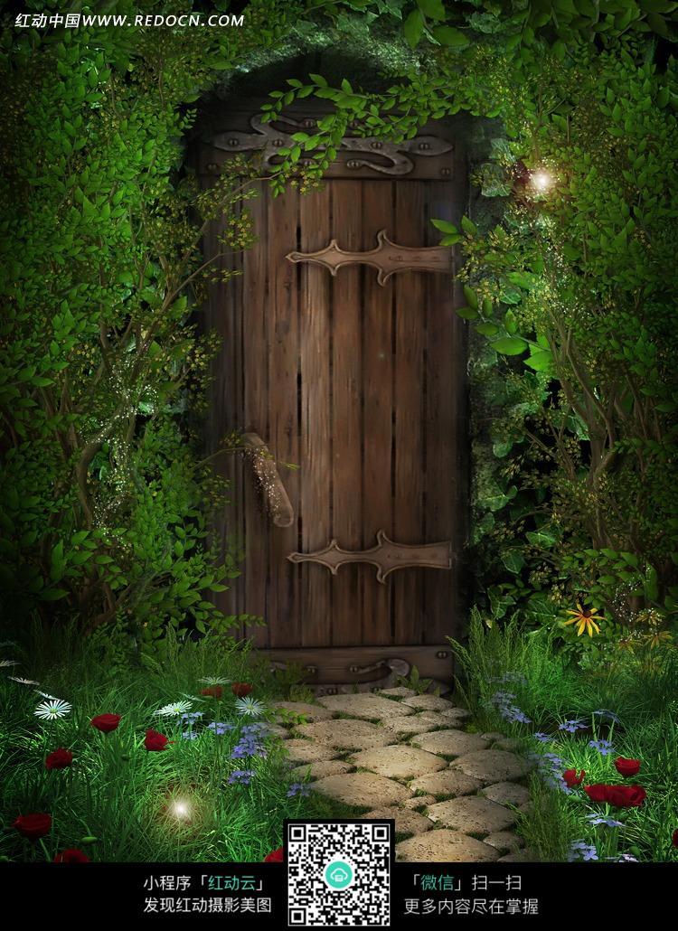森林中的小屋木门摄影背景