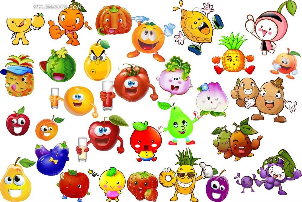 卡通水果素材psd免费下载