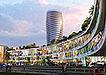 蓝紫色繁华都市商业大厦效果图