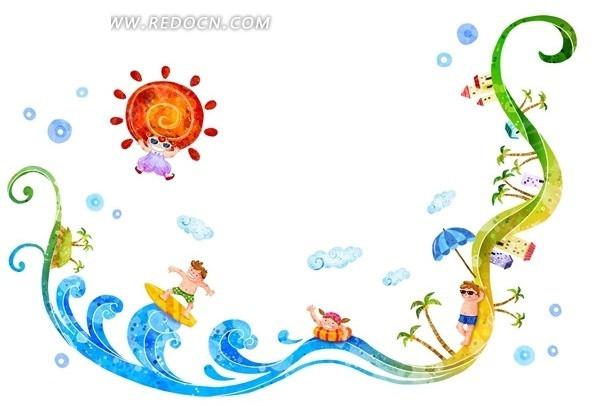 游泳的手绘图片