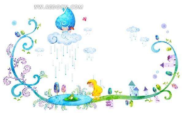 下雨天天气卡通素材