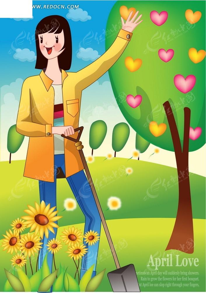 植树节卡通海报矢量图