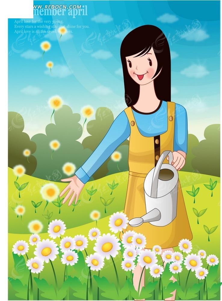 浇花植树节卡通海报矢量图