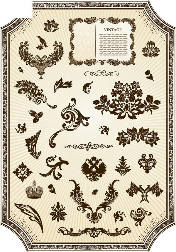 欧式风格的花纹边框矢量图