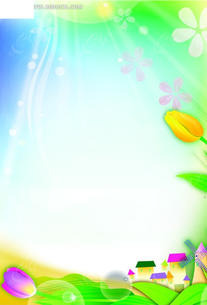 阳光下的花朵卡通素材