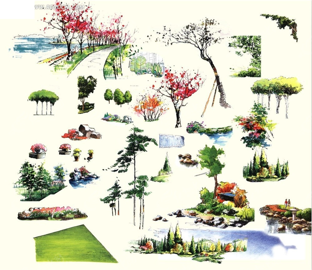 树木手绘素材图片