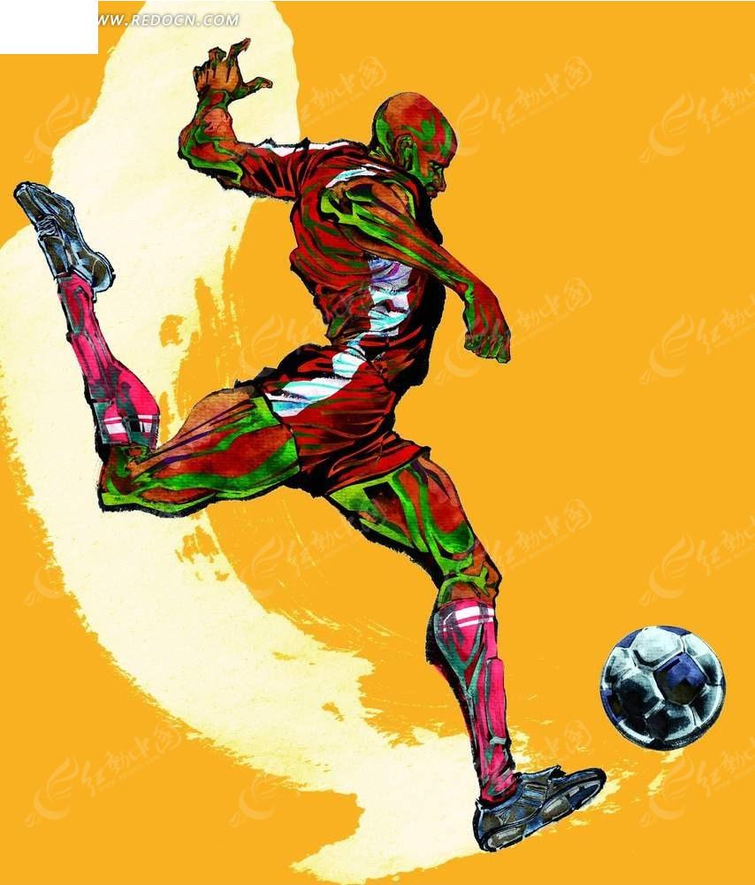 踏足球的卡通人物
