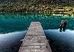 湖水边的观景桥